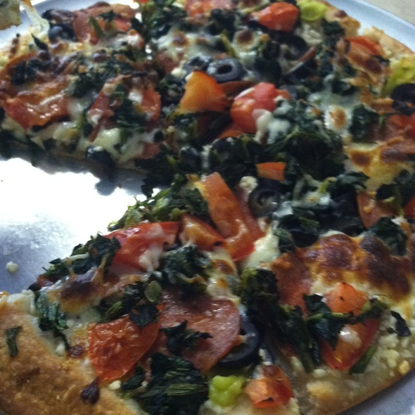 Greek Pizza With Spinach, Pepperoni And Light Cheese @ Laki's Greek & Italian