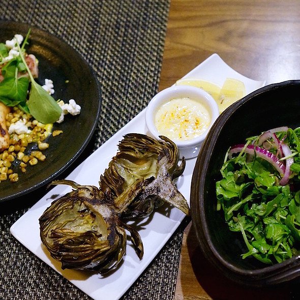 Grilled artichokes, grilled octopus with sweet corn and arugula olive salad @ Figs
