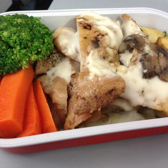 Roast Chicken with Dijon Creamy Mushroom Sauce at Air Asia - Bali to ...