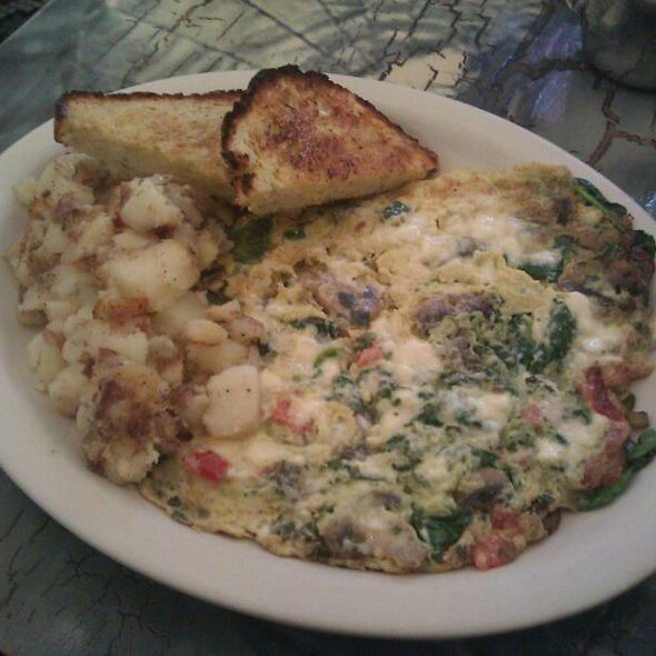 Bacon, Tomato, Scallions and Bleu Cheese Scramble with Potatoes and homemade Dill Bread @ Dottie's True Blue Cafe