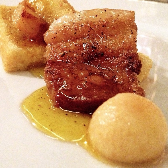 Mangalitza Pork belly, cornbread, peppercorn honey and pickled apple.  @ Rooster & The Till