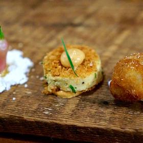 Amuse bouche – Breakfast radish, smoked olive oil gel and powder; shrimp toast, mole crème fraîche; pork rillettes, ricotta - Piedmont Restaurant, Durham, NC