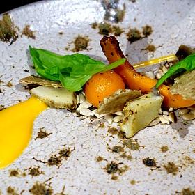 Sunflower salad – petals, heart, seeds, butternut squash, mustard frill, edlerflower vinegar