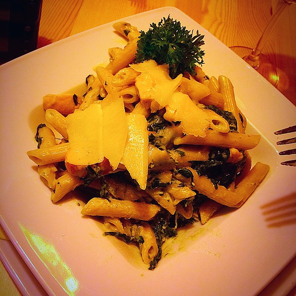 Penne with Salmon and Spinach With Parmigiano