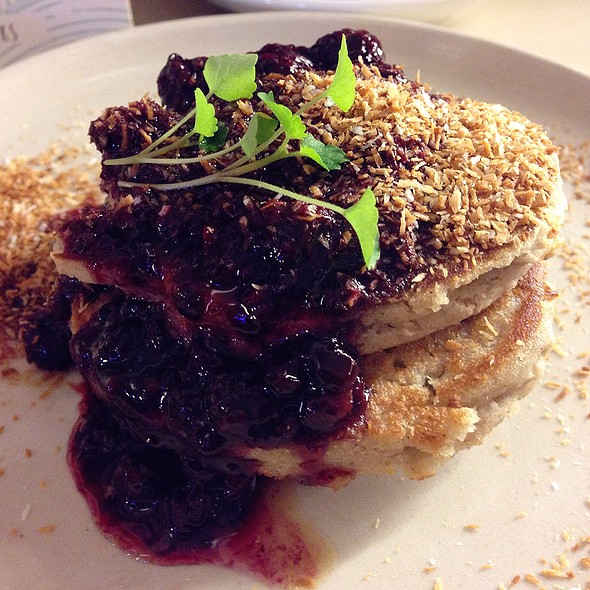 Coconut Pancakes With Red Fruit Compote @ CT coffee & coconuts