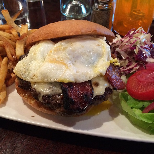 Hamburger With Bacon An Eggs