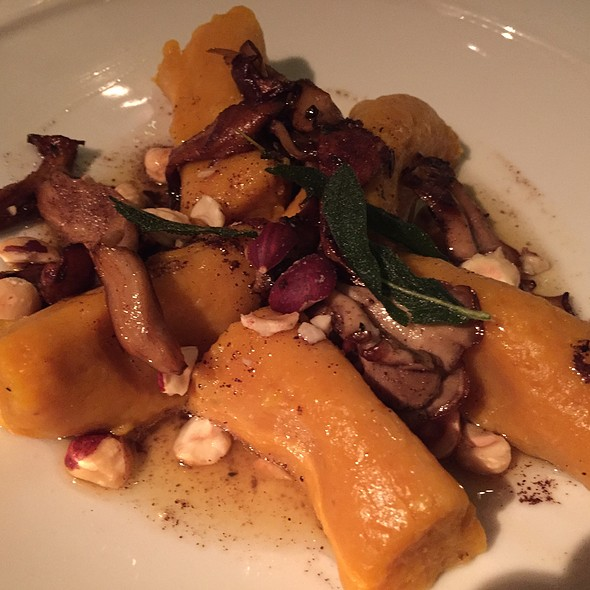Squash Dumplings W/ Brown Butter Sauce, Mushroom & Hazelnut