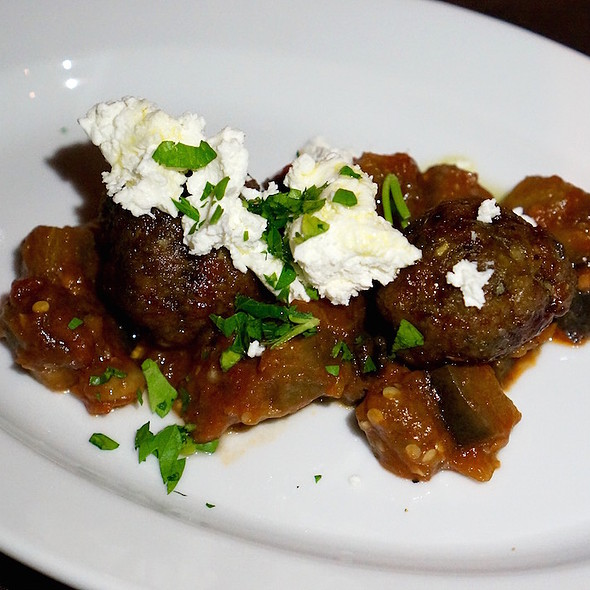Wild boar meatballs, tomato braised eggplant, goat cheese
