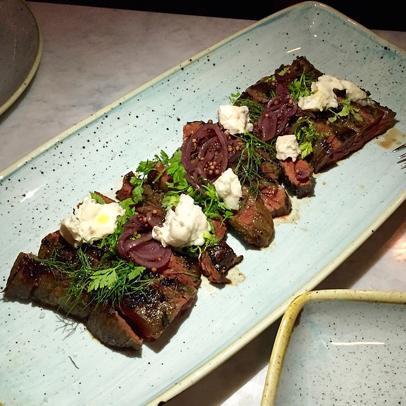 Prime skirt steak, pickled tropea onions, gorgonzola dolce, chervil, fennel fronds @ Cafe Spiaggia