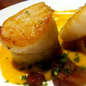 Seared Scallops On Risotto Cakes With Maple Butternut Cream & Bacon