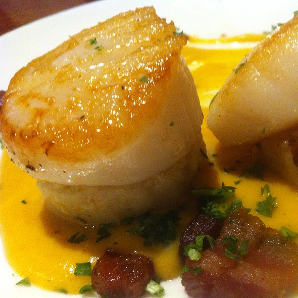 Seared Scallops On Risotto Cakes With Maple Butternut Cream & Bacon - EdgeWild Restaurant & Winery