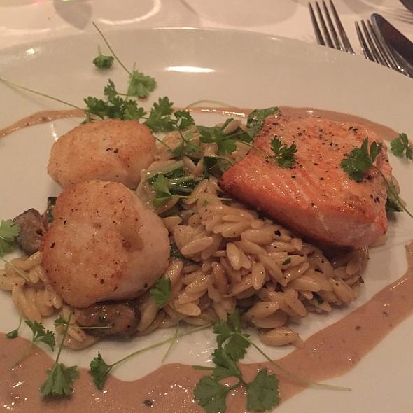 Salmon & Scallops W/ Mushroom Orzo - Fin Seafood Restaurant, Newport News, VA