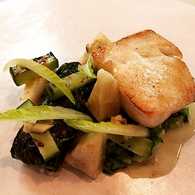 South Carolina Grouper With Smoked Artichokes, Romaine, White Anchovy, And Grilled Cucumber