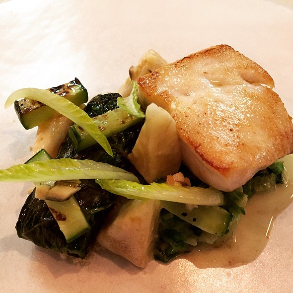 South Carolina Grouper With Smoked Artichokes, Romaine, White Anchovy, And Grilled Cucumber - One Restaurant - Chapel Hill, Chapel Hill, NC
