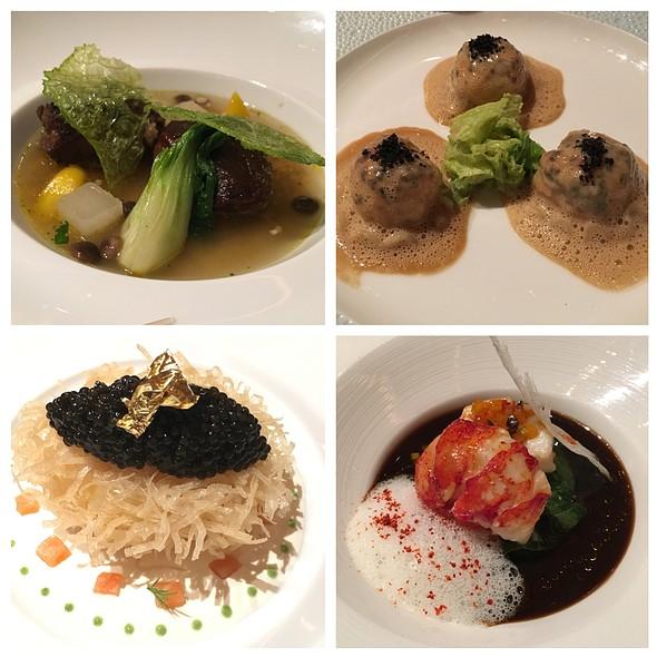 Braised Veal, Truffled Langoustine Ravioli, Crispy Soft Boiled Egg With Salmon/Caviar, Grilled Lobster @ Joel Robuchon Restaurant