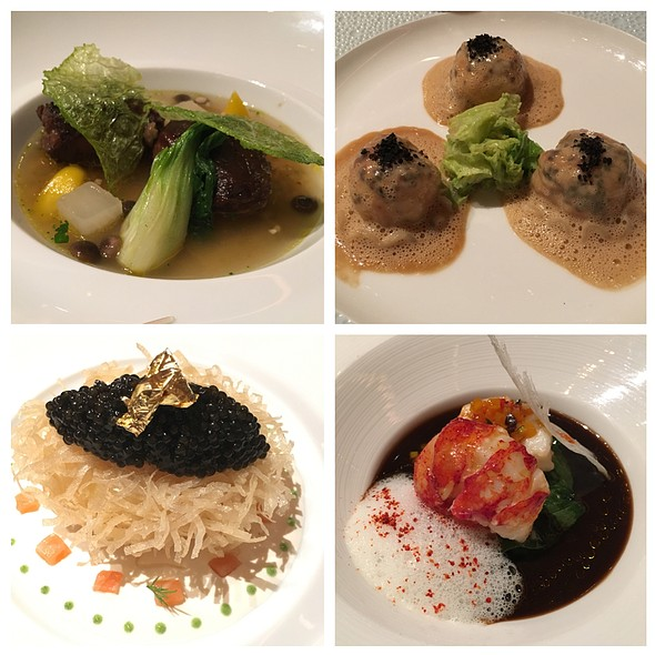 Braised Veal, Truffled Langoustine Ravioli, Crispy Soft Boiled Egg With Salmon/Caviar, Grilled Lobster @ Joel Robuchon Restaurant