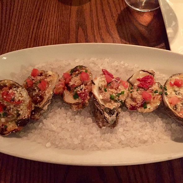 Broiled Oysters With Bacon, Pecorino, Spinach, And Sun Dried Tomatoes - Marker 32, Jacksonville, FL