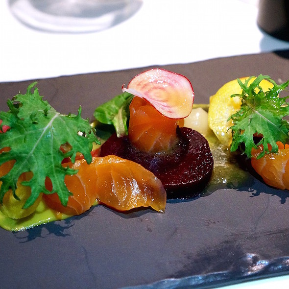 House cured and smoked Skuna Bay salmon, raw and roasted Pemberton beets, sherry vinaigrette @ Araxi Restaurant + Bar