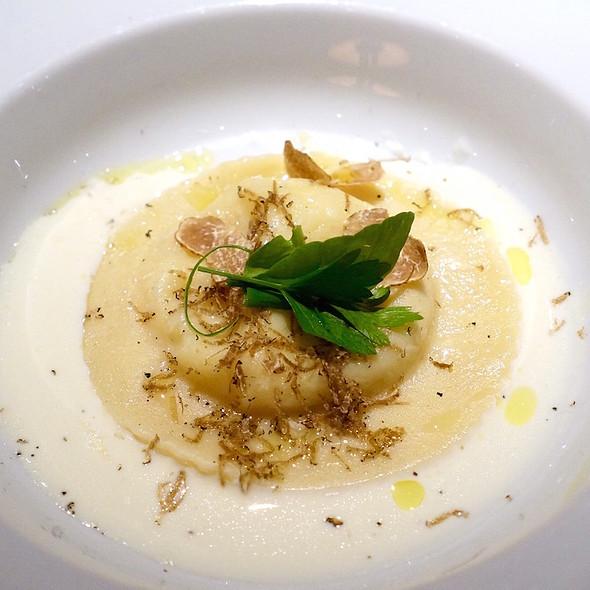 Black Italian and white Alba truffles, housemade ravioli stuffed with White Grace cheese, shaved truffles, fonduto @ Araxi Restaurant + Bar