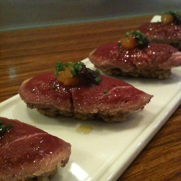 Duck Tataki Sushi over Roasted Almond Rice with Tapenade & Kinkan Compote @ The White Fox