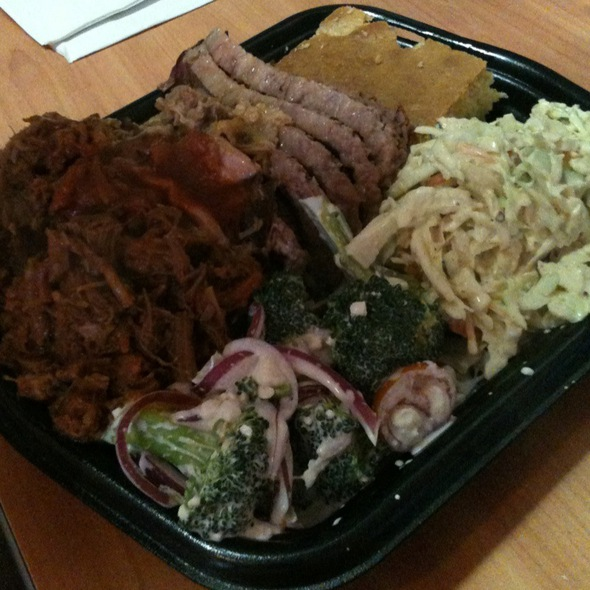 Pulled Pork, Brisket, And Burnt Ends With Cole Slaw & Broccoli W/ Blue Cheese