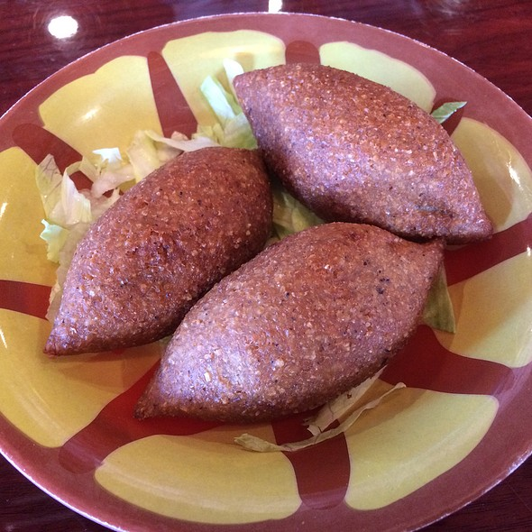 Kibbi, cracked wheat pockets stuffed with ground beef, onions, pine nuts and spices @ Norma's Mediterranean Restaurant