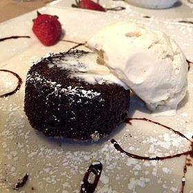 Chocolate Lava Torta With Vanilla Ice Cream