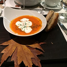 Truffled Grilled Cheese And Tomato Bisque Perigord And Burgundian Truffles, Cypress Grove Midnight Moon, San Marzano Tomatoes And White Truffle Butter