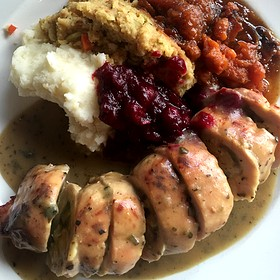 Turkey Roulade With Spinach Bread Pudding