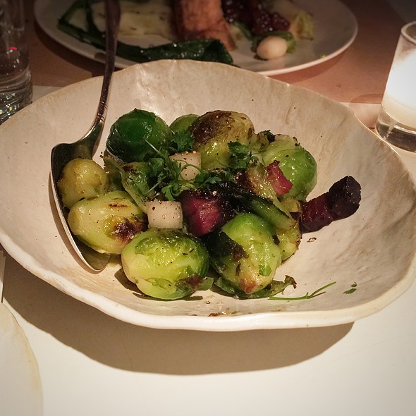 Roasted Brussels Sprouts, Smoked Bacon, Pears And Raisin Vinaigrette