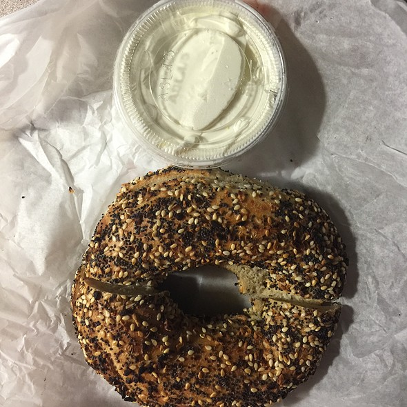 Everything Bagel With Cream Cheese @ Toasted Bagelry & Deli