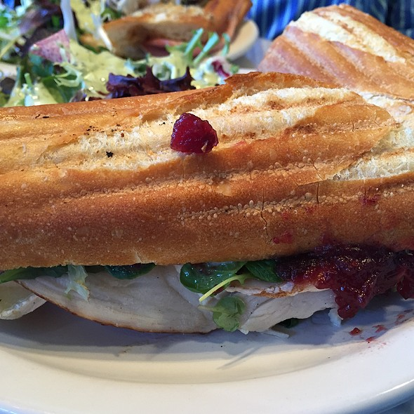 Turkey And Brie Panini With Cranberry Sauce at Pamplemousse Cafe