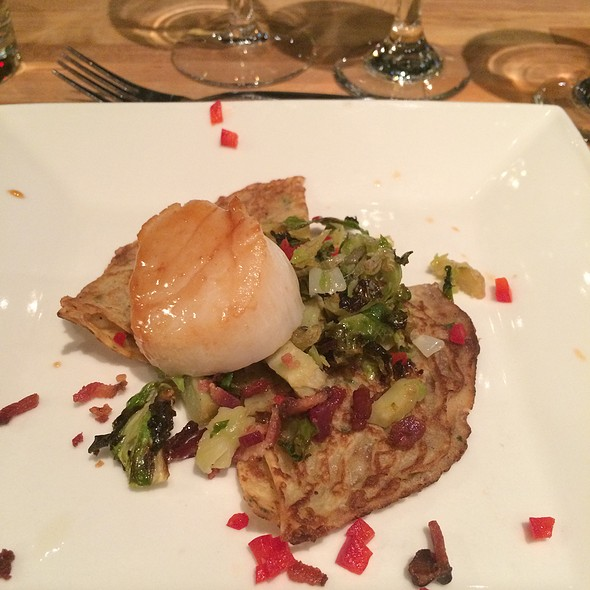 Maple Glazed Sea Scallops With Fine Herbs Crepes Roasted Shredded Brussels Sprouts