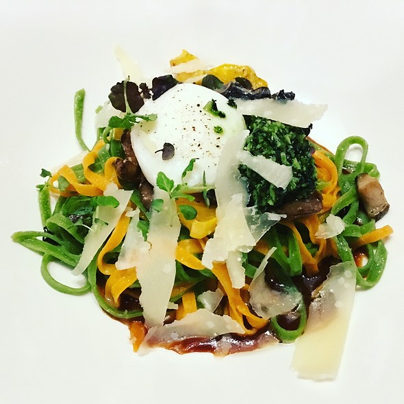 Stiebrs Farm Egg And Kale Linguini With Foraged Mushrooms And Vegetable Demi-Glacé @ Trace