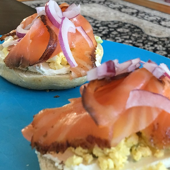 Bagel And Smoked Salmon With Cream Cheese And Egg Salad @ Russ & Daughters