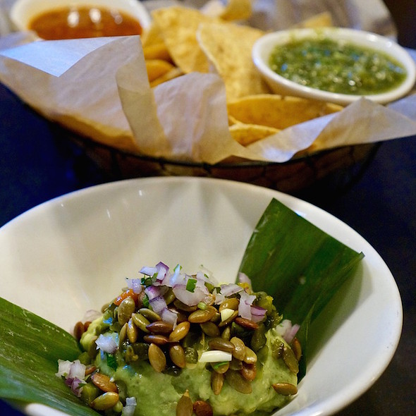 Guacamole with pepitas, roasted poblano peppers @ Xoco