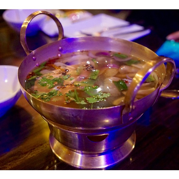 Clear Tom yum soup @ Tawandang German Brewery