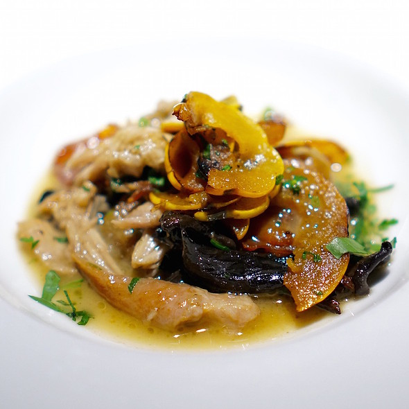 Wild rice gnocchi, braised rabbit, rabbit bacon, black trumpet mushrooms, delicata squash - Vie, Western Springs, IL