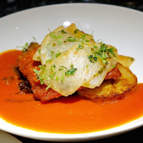 Roasted steelhead fillet, crispy bread dumplings, smoked tomato, roasted cabbage, truffle-glazed celery root - Vie, Western Springs, IL