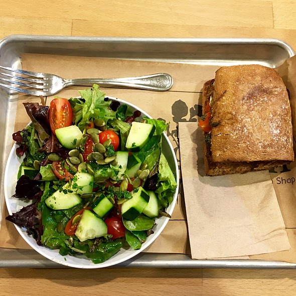 Half Caprese Sandwich And Baby Greens Side Salad @ Homegrown Sustainable Sandwich Shop