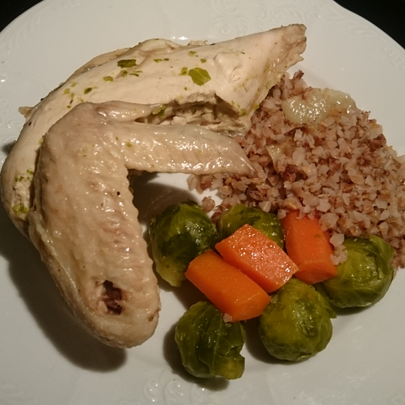 Chicken, Brussels Sprouts, Carrots and Onion Buckwheat