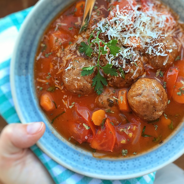 Chunky Italian Tomato Meatball Soup @ June's Kitchen In Tenerife