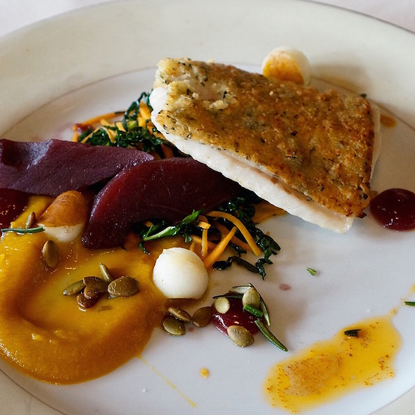Rosemary-crusted Great Lakes whitefish, brandied butternut squash, Bosc pears, cassis, pumpkin seeds