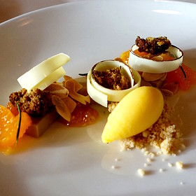 Earl grey tea bavarian, white chocolate, satsuma sorbet and jam, rosemary cake croûtes, almonds - North Pond, Chicago, IL