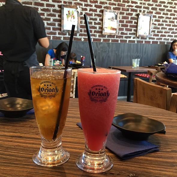 Watermelon Juice And Oolong Tea @ Gyoza Bar