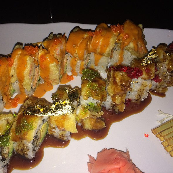 """Golden Dragon Roll"" Eel & Avocado Inside Topped with Tempura Lobster Tail, Gold Leaves & Tobiko ""Angry Ninja Roll"" Spicy Crunchy Crabmeat & Avocado Inside Topped with Tempura Soft Shrimp, Tobiko & Special Sauce"