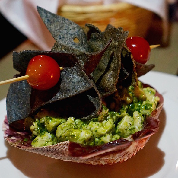 Ceviche verde –catch of the day with citrus and fresh herb dressing, blue corn tortilla chips