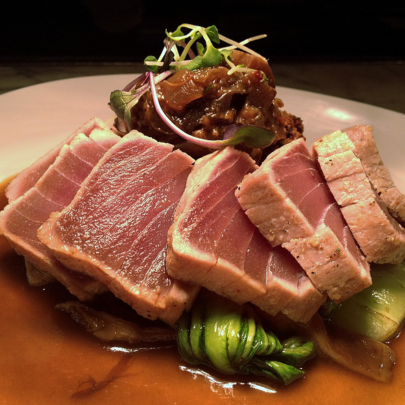 Big Eye Tuna w/smoked shiitake broth and szechuan eggplant