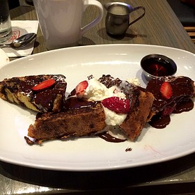 French Toast With Chocolate Ganache, Strawberries, And Whipped Cream