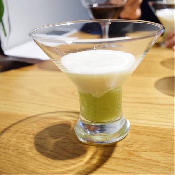 Green Apple Sorbet, Celery And Yogurt Foam @ En La Parra